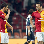Galatasaray's Milan BAROS (R) celebrate his goal with team mate during their Turkish Super League soccer match Galatasaray between Kasimpasaspor at the TT Arena at Seyrantepe in Istanbul Turkey on Monday 09 May 2011. Photo by TURKPIX
