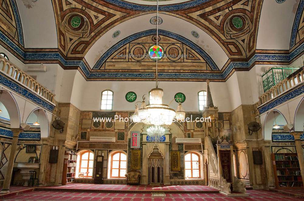 Israel, Acre, Interior of the Ahmed Al Jazzar mosque in the old city of acre
