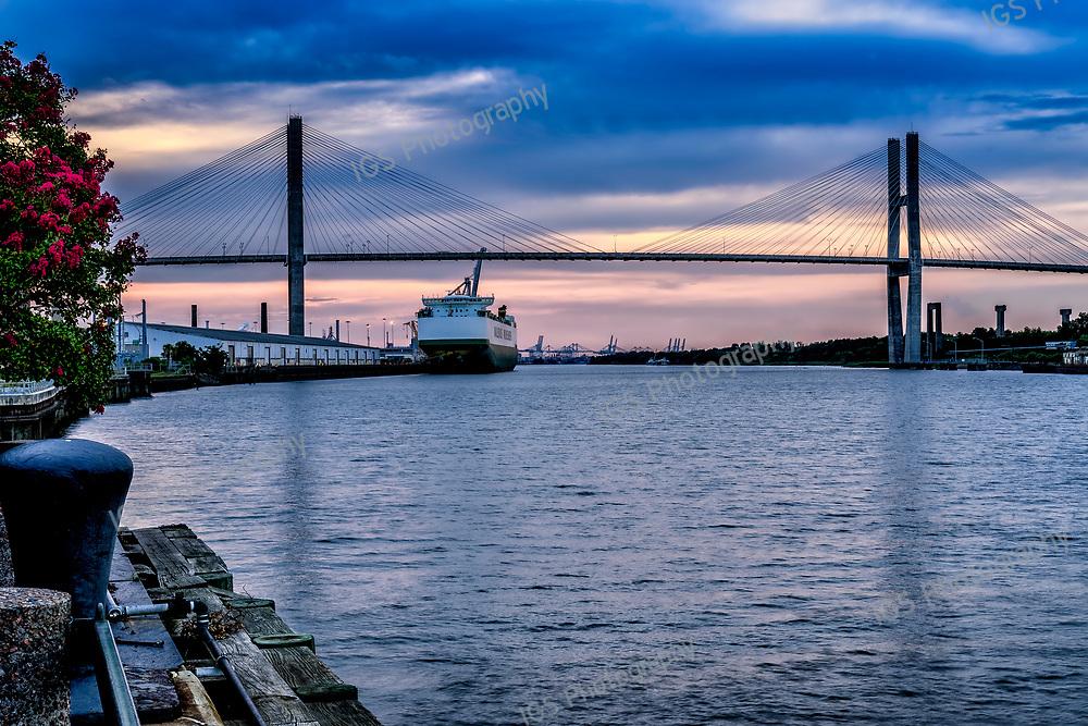 Cargo Ship at the Dockyard in Savannah near the  Talmadge Bridge on the Savannah River