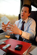 Nick Clegg MP, Leader of the Liberal Democrats and Deputy Prime Minister in the coalition government being interviewed on a train on 25 March 2011 in the United Kingdom.