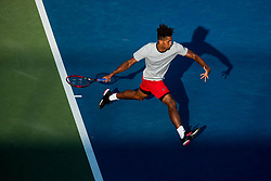 August 28, 2018 - Flushing Meadow, NY, U.S. - FLUSHING MEADOW, NY - AUGUST 28: MICHAEL MMOH (USA) day two of the 2018 US Open on August 28, 2018, at Billie Jean King National Tennis Center in Flushing Meadow, NY. (Photo by Chaz Niell/Icon Sportswire) (Credit Image: © Chaz Niell/Icon SMI via ZUMA Press)