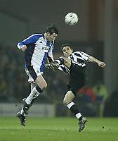 Photo. Aidan Ellis.<br /> Blackburn Rovers v Newcastle United.<br /> FA Barclaycard Premiership.<br /> 11/02/2004.<br /> Blackburn's Brett Emerton and Newcastle's Laurent Robert