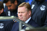 Everton Manager Ronald Koeman looks on from the dugout. Premier league match, Everton v Chelsea at Goodison Park in Liverpool, Merseyside on Sunday 30th April 2017.<br /> pic by Chris Stading, Andrew Orchard sports photography.