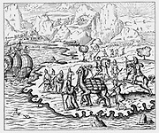 Merchants transporting goods to the coast and waiting vessel by camel. From Andre Thevet 'Cosmographie Universelle' Paris 1575. Woodcut.