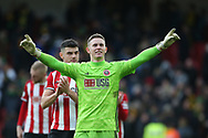Dean Henderson of Sheffield Utd celebrates the win during the Premier League match at Bramall Lane, Sheffield. Picture date: 7th March 2020. Picture credit should read: Alistair Langham/Sportimage