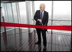 London Mayor Boris Johnson officially opens the Shard building to the General public, central London, Friday February 1, 2013. Photo By Andrew Parsons / i-Images