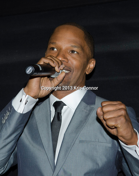 WASHINGTON DC JUNE 21: Actor Jamie Foxx speaks during the DC premiere of White House Down at AMC Georgetown in Washington DC on June 21, 2013.<br /> Photo by Kris Connor/Sony Pictures