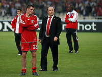 Photo: Paul Thomas.<br /> AC Milan v Liverpool. UEFA Champions League Final. 23/05/2007.<br /> <br /> Dejected Jamie Carragher (L) and manager Rafael Benitez of Liverpool.