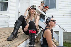 Leticia Cline (L), Lilly James (R), Kissa Von Addams and Dana Cooley of the Iron Lilies during Laconia Motorcycle Week 2016. NH, USA. Sunday, June 19, 2016.  Photography ©2016 Michael Lichter.