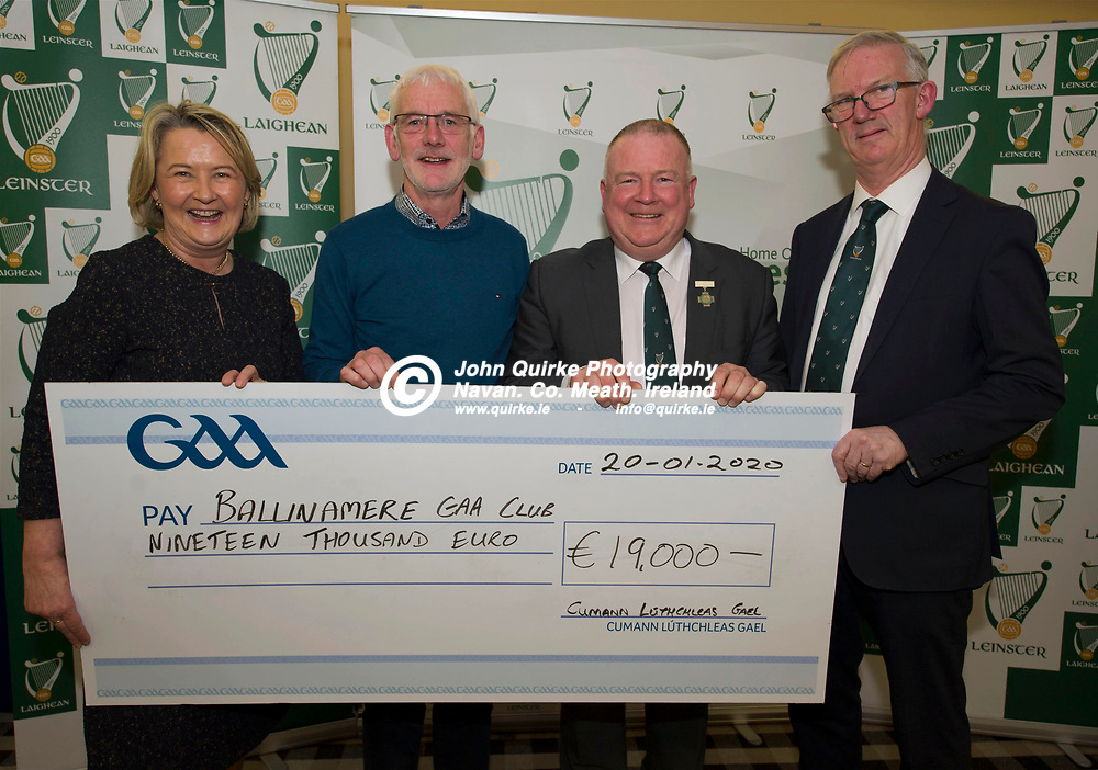 20-01-20. Leinster GAA Club Development Grant Cheque Presentations (See Press Release) at Aras Laighean, Portlaoise.<br /> GAA National Finance Manager Kathy Slattery and Jim Bolger (2nd. Right), Cathoirleach, Comhairle Laighean pictured presenting a cheque for €19,000 to Ballinamere GAA Club. Co. Offaly represented by Vincent Molloy and Pat Teehan, Leas Cathoirleach, Leinster GAA.<br /> Photo: John Quirke / www.quirke.ie<br /> ©John Quirke Photography, Unit 17, Blackcastle Shopping Cte. Navan. Co. Meath. 046-9079044 / 087-2579454.