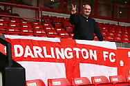 Darlington fan before for The FA Cup match between Walsall and Darlington at the Banks's Stadium, Walsall, England on 9 November 2019.