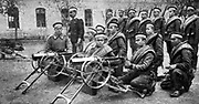 Bulgarian Army field artillery unit with guns unlimbered and ready for actioin, c1914.