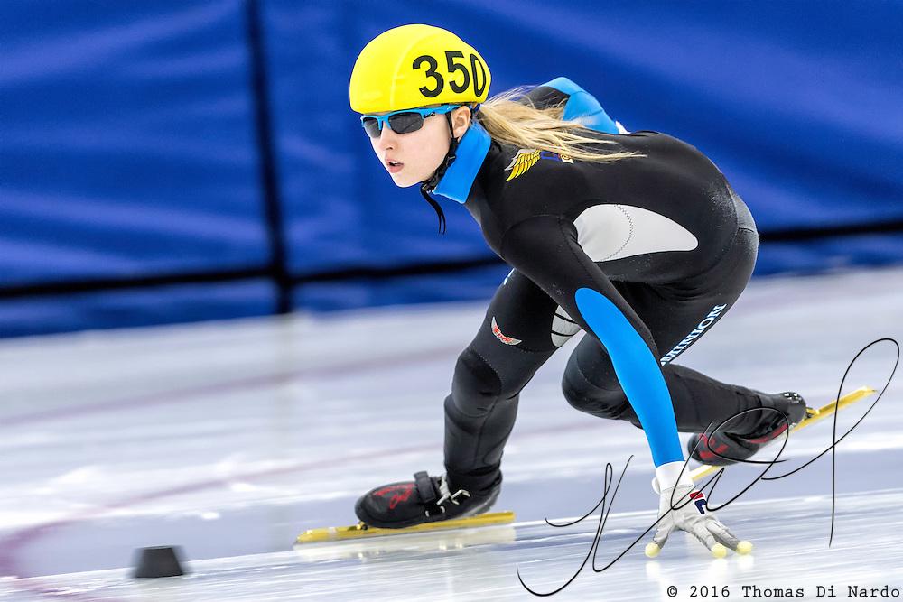 December 17, 2016 - Kearns, UT - /skater/ skates during US Speedskating Short Track Junior Nationals and Winter Challenge Short Track Speed Skating competition at the Utah Olympic Oval.