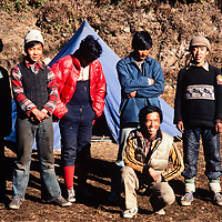 Sherpa trekking crew in the Khumbu region of Nepal's Himalaya.