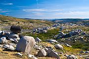 Serra da Estrela mountain range in the Natural Park. Sculptural effect of glacial erratics boulders, Portugal