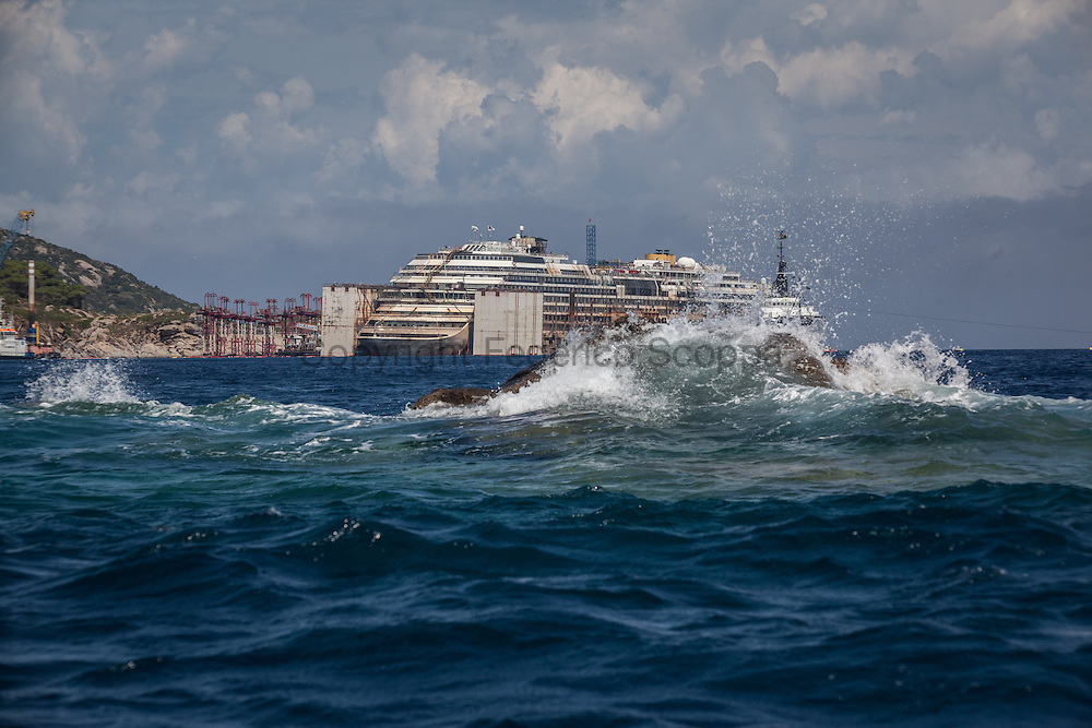 Costa Concordia re float operation close to the end, the Scole rocks, a group of rocks where the Costa Concordia hit the botton two years ago