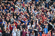 The Hearts fans during the Cinch SPFL Premiership match between Heart of Midlothian and Hibernian at Tynecastle Park, Edinburgh, Scotland on 12 September 2021.