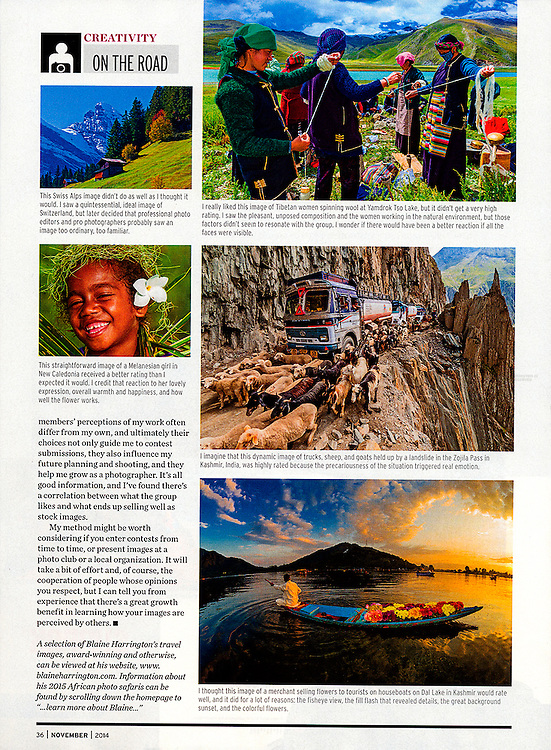 "Blaine Harrington's ""On the Road"" travel photography column in the November 2014 issue of Shutterbug Magazine."