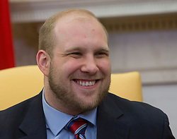 Joshua Holt smiles during a meeting with U.S. President Donald Trump, members of his family and the congressional delegation of Utah at the U.S. at The White House in Washington, DC, May 26, 2018. Holt, was released from prison in Venezuela following diplomat efforts by the Obama and Trump administrations. Photo by Chris Kleponis/CNP/ABACAPRESS.COM