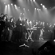 NLD/Bussum/19890117 - Jubileum uitzending Countdown, Countdown All Stars band met oa, Lois Lane, Angela Groothuijzen, Frederique Spigt, Frank Boeijen,