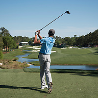 A golfer tees off during the ProAm at the Wells Fargo Championship in Wilmington, NC.
