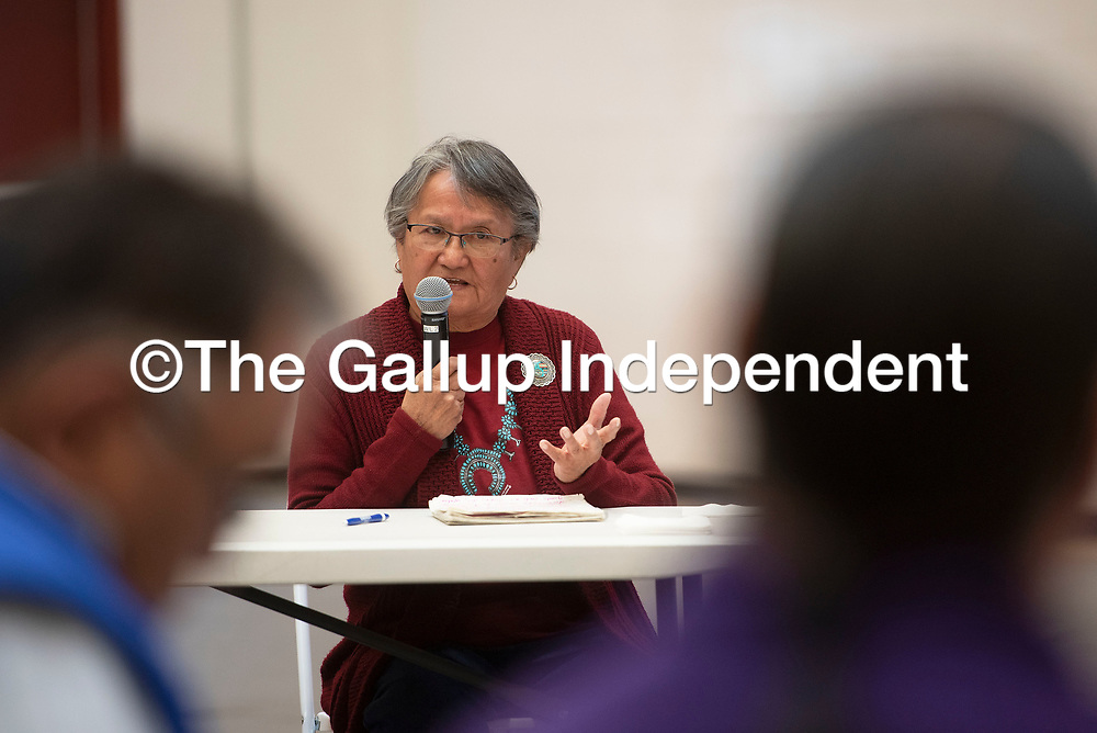 Edith Hood of Red Water Pond Road speaks to members of the Navajo Nation Council during a public hearing on the impacts of uranium Friday, March 6 at Navajo Technical University in Crownpoint. There are two upcoming uranium public hearings, March 13 in Chinle and March 14 in Tuba City.