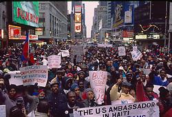 Haitian demonstation in Times Squre, New Rork, 07/02/1992