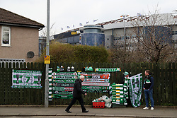 Celtic merchandise for sale outside Hampden Park before the William Hill Scottish Cup semi final match at Hampden Park, Glasgow.