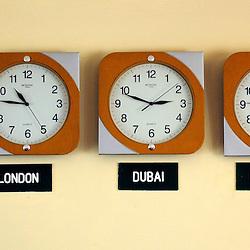 Juba, Sudan 13 April 2010.Clocks in the lobby of a hotel..Photo : Scorpix - Ezequiel Scagnetti