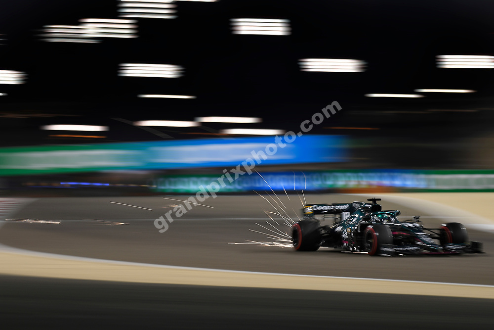 Sparks fly from Lance Stroll (Aston Martin-Mercedes) during practice for the 2021 Bahrain Grand Prix. Photo: Grand Prix Photo