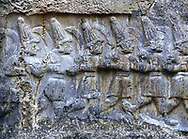 Sculpture of the twelve gods of the underworld from the 13th century BC Hittite religious rock carvings of Yazılıkaya Hittite rock sanctuary, chamber B,  Hattusa, Bogazale, Turkey. .<br /> <br /> If you prefer to buy from our ALAMY PHOTO LIBRARY  Collection visit : https://www.alamy.com/portfolio/paul-williams-funkystock/yazilikaya-hittite-sanctuary-hattusa.html<br /> <br /> Visit our ANCIENT WORLD PHOTO COLLECTIONS for more photos to download or buy as wall art prints https://funkystock.photoshelter.com/gallery-collection/Ancient-World-Art-Antiquities-Historic-Sites-Pictures-Images-of/C00006u26yqSkDOM