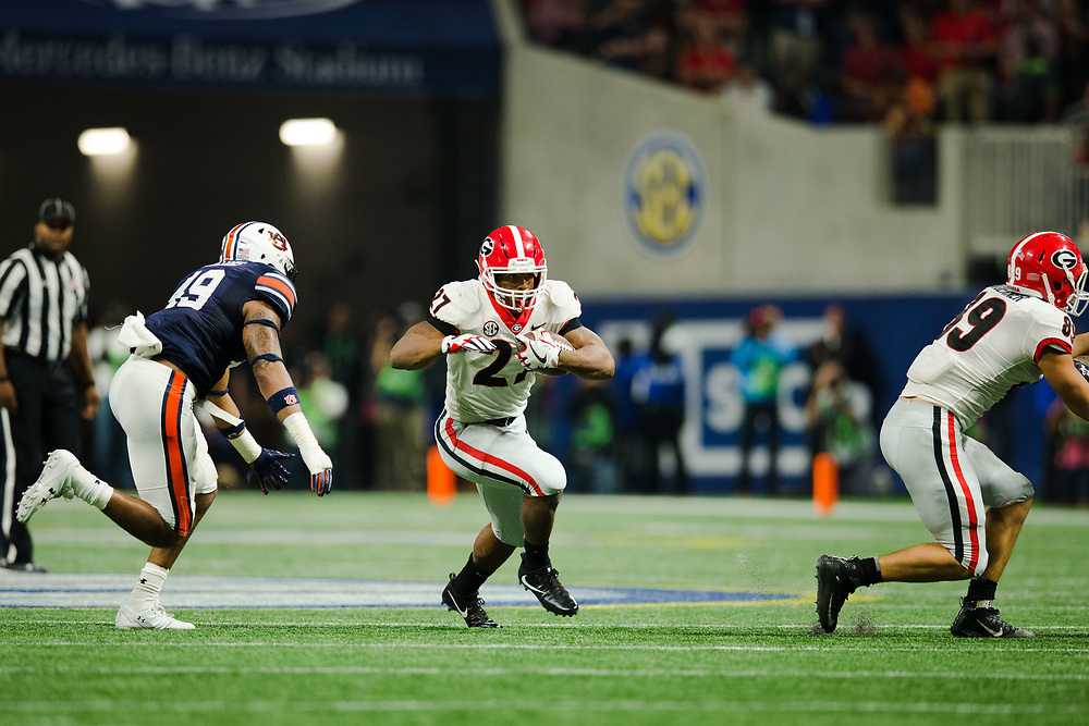 Georgia Bulldogs running back Nick Chubb (27)<br /> <br /> NCAA College Football: SEC Championship Georgia Bulldogs v Auburn Tigers<br /> SEC Championship UGA Bulldogs v AU Tigers<br /> Mercedes-Benz Stadium/Atlanta, GA, USA<br /> 12/2/2017<br /> X161564 TK1<br /> Credit: Kevin Liles Photographed for Sports Illustrated