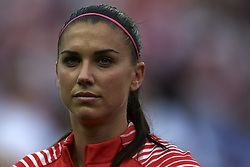 June 28, 2019 - Paris, France - Alex Morgan (Orlando Pride) of United States during the national anthem before the 2019 FIFA Women's World Cup France Quarter Final match between France and USA at Parc des Princes on June 28, 2019 in Paris, France. (Credit Image: © Jose Breton/NurPhoto via ZUMA Press)