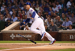 August 29, 2017 - Chicago, IL, USA - The Chicago Cubs' Anthony Rizzo singles in the first inning against the Pittsburgh Pirates at Wrigley Field in Chicago on Tuesday, Aug. 29, 2017. The Cubs won, 4-1. (Credit Image: © Chris Sweda/TNS via ZUMA Wire)