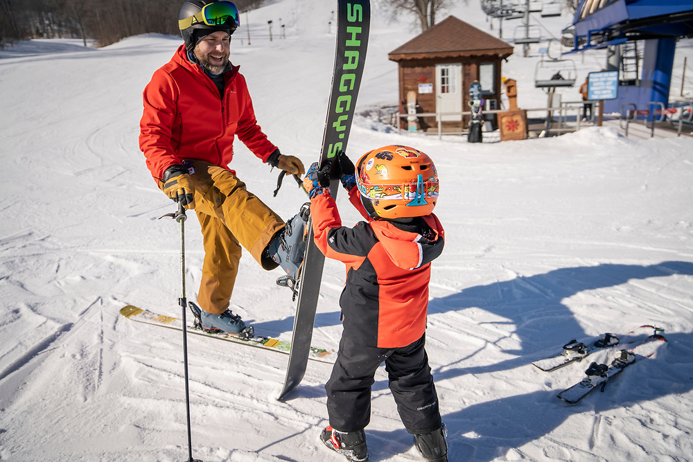 Family skiing at Boyne Mountain Resort near Petoskey, Michigan.