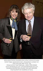 MR & MRS FRANK JOHNSON she is the mother of model Honor Fraser and Lord Lovat,  at a party in London on 27th February 2001.OLO  136