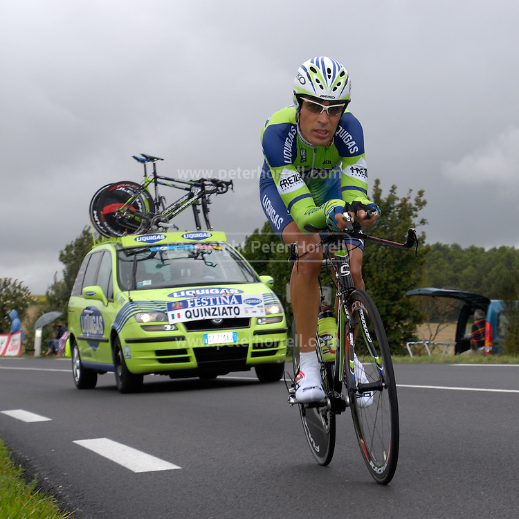 FRANCE, SATURDAY 28th JULY 2007:  Stage 19 Cognac - Angouleme, 55.5 km time trial. Manuel Quinziato (Liquigas) with approximately 17km to go to the finish.