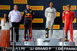 June 24, 2018 - Le Castellet, Var, France - Mercedes 44 Driver LEWIS HAMILTON (GBR) win the Formula one French Grand Prix at the Paul Ricard circuit at Le Castellet - France, Max Verstappen finish second and Kimi Raikkonen third.On the podium Madam Minister of Youth and Sports Laura Flessel. (Credit Image: © Pierre Stevenin via ZUMA Wire)