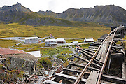 Building complex and old train tracks at the independence Mine State Historical Park, Matanuska Valley, Talkeetna Mountains, Alaska.