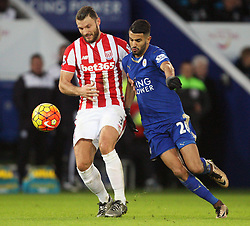 Erik Pieters of Stoke City (L) and Riyad Mahrez of Leicester City in action - Mandatory byline: Jack Phillips/JMP - 23/01/2016 - FOOTBALL - King Power Stadium - Leicester, England - Leicester City v Stoke City - Barclays Premier League