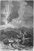 Lazaro Spallanzani (1729-99) observing an eruption of Etna. Italian naturalist and biologist. Engraving published Paris 1874