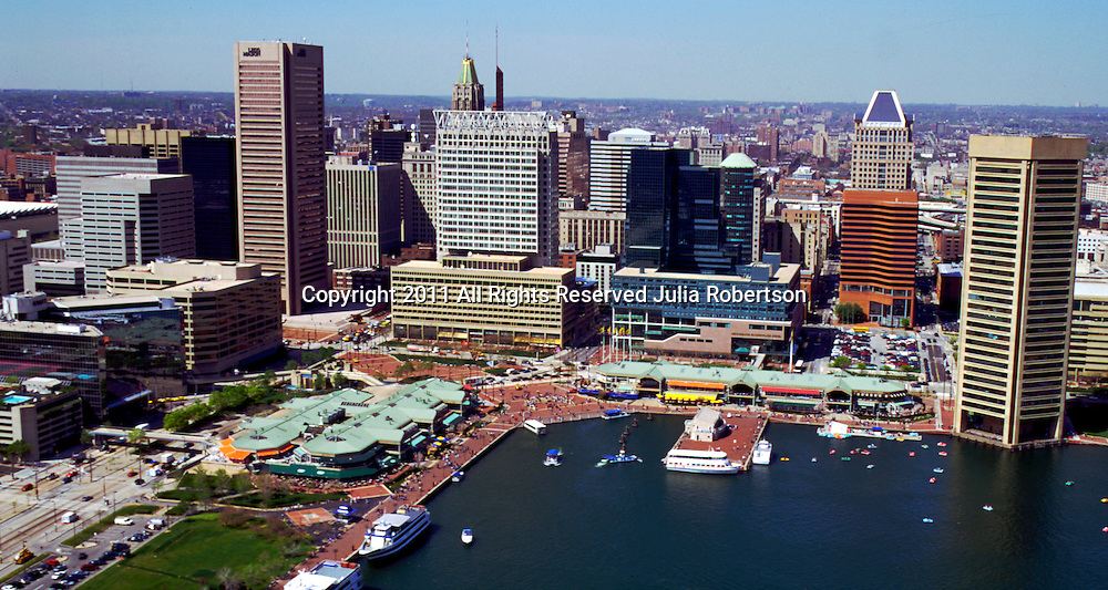 Aerial view of Harborplace, Baltimore Inner Harbor, Maryland