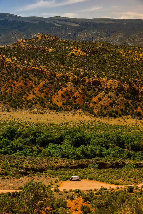 A Native Campervans van parked in the remote back country of Dinosaur National Monument, Utah USA.