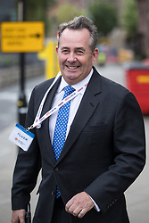 © Licensed to London News Pictures . 02/10/2017. Manchester, UK. DR LIAM FOX at the start of the second day of the Conservative Party Conference at the Manchester Central Convention Centre . Photo credit: Joel Goodman/LNP