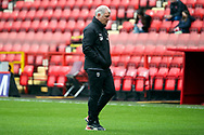 AFC Wimbledon manager Glyn Hodges walking off pitch during the EFL Sky Bet League 1 match between Charlton Athletic and AFC Wimbledon at The Valley, London, England on 12 December 2020.