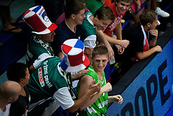 Gezim Morina of Slovenia celebrates after winning the basketball match between National teams of Turkey and Slovenia in Qualifying Round of U20 Men European Championship Slovenia 2012, on July 17, 2012 in Domzale, Slovenia. Slovenia defeated Turkey 72-71 in last second of the game. (Photo by Vid Ponikvar / Sportida.com)