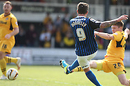 George Donnelly of Rochdale shoots and scores his side's first goal. Skybet football league two match, Newport county v Rochdale at Rodney Parade in Newport, South Wales on Saturday 3rd May 2014.<br /> pic by Mark Hawkins, Andrew Orchard sports photography.