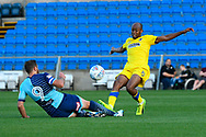 Paul Hayes (9) of Wycombe Wanderers tackles Jimmy Abdou (8) of AFC Wimbledon during the Pre-Season Friendly match between Wycombe Wanderers and AFC Wimbledon at Adams Park, High Wycombe, England on 25 July 2017. Photo by Graham Hunt.