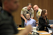 April 1, 2014 - El Cajon, California, U.S - <br /> <br /> Iraqi Immigrant Guilty In Wife's Murder<br /> <br /> Kassim Alhimidi reacts to being found guilty of his wife's murder in William J. McGrath's courtroom. As the verdict was read the victim's mother and the defendant's son yelled in court and he was dragged from court.  <br /> ©Exclusivepix