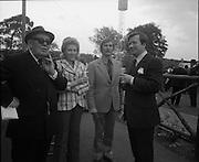 The Bollinger Bar at Phoenix Park..1972..07.10.1972..10.07.1972..7th October 1972..As part of the Phoenix Park races Bollinger opened a bar to facilitate the Champagne tastes of the racegoers...Pictured taking in the delights of the Bollinger Champagne Bar were Mr Tom McCairns,racehorse owner, Mrs Jackie Ward,lady jockey, Mr Cautley and Mr Tom Whelehan,Director,Irish Vitners Ltd.